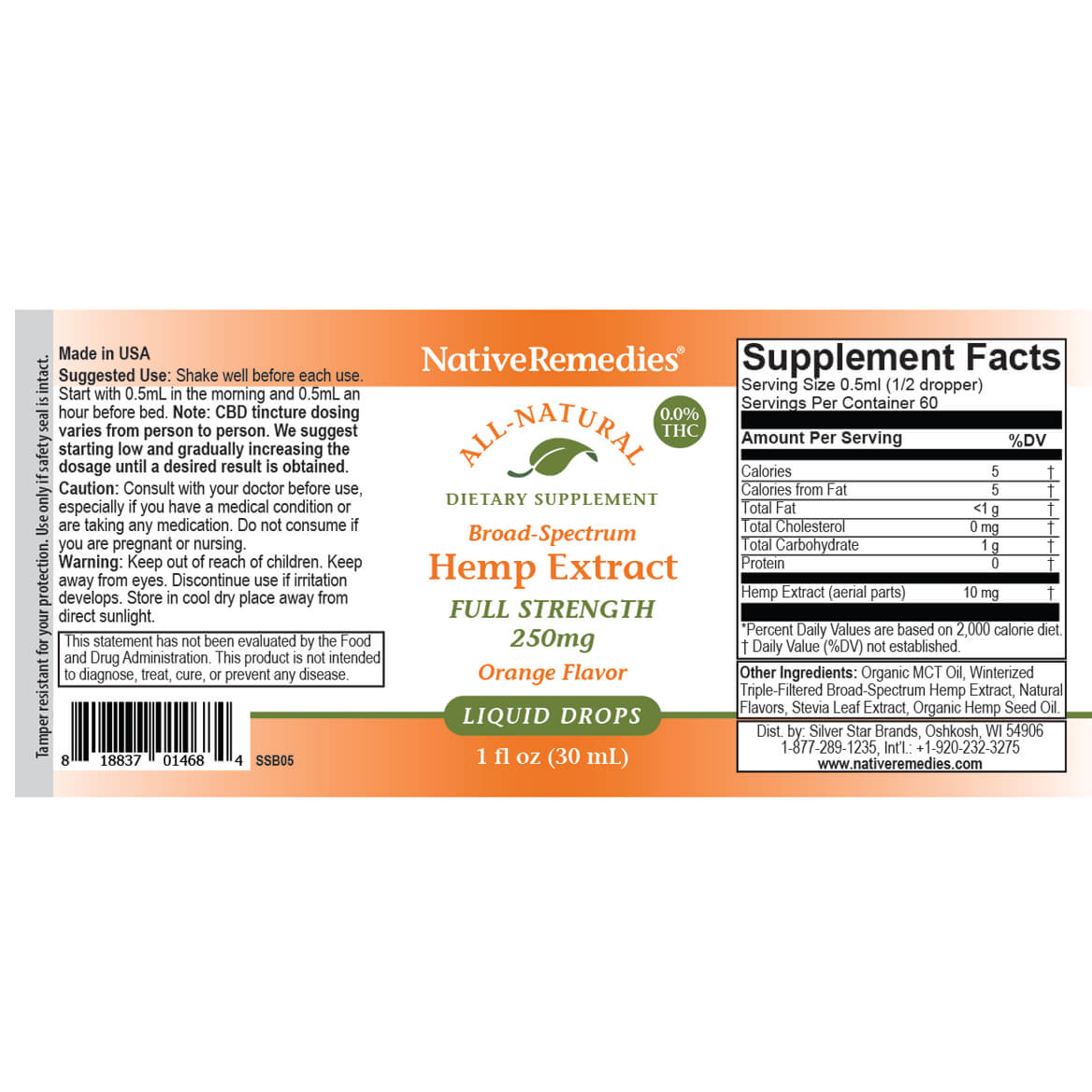 Full-Strength Hemp Extract 250 mg-367949