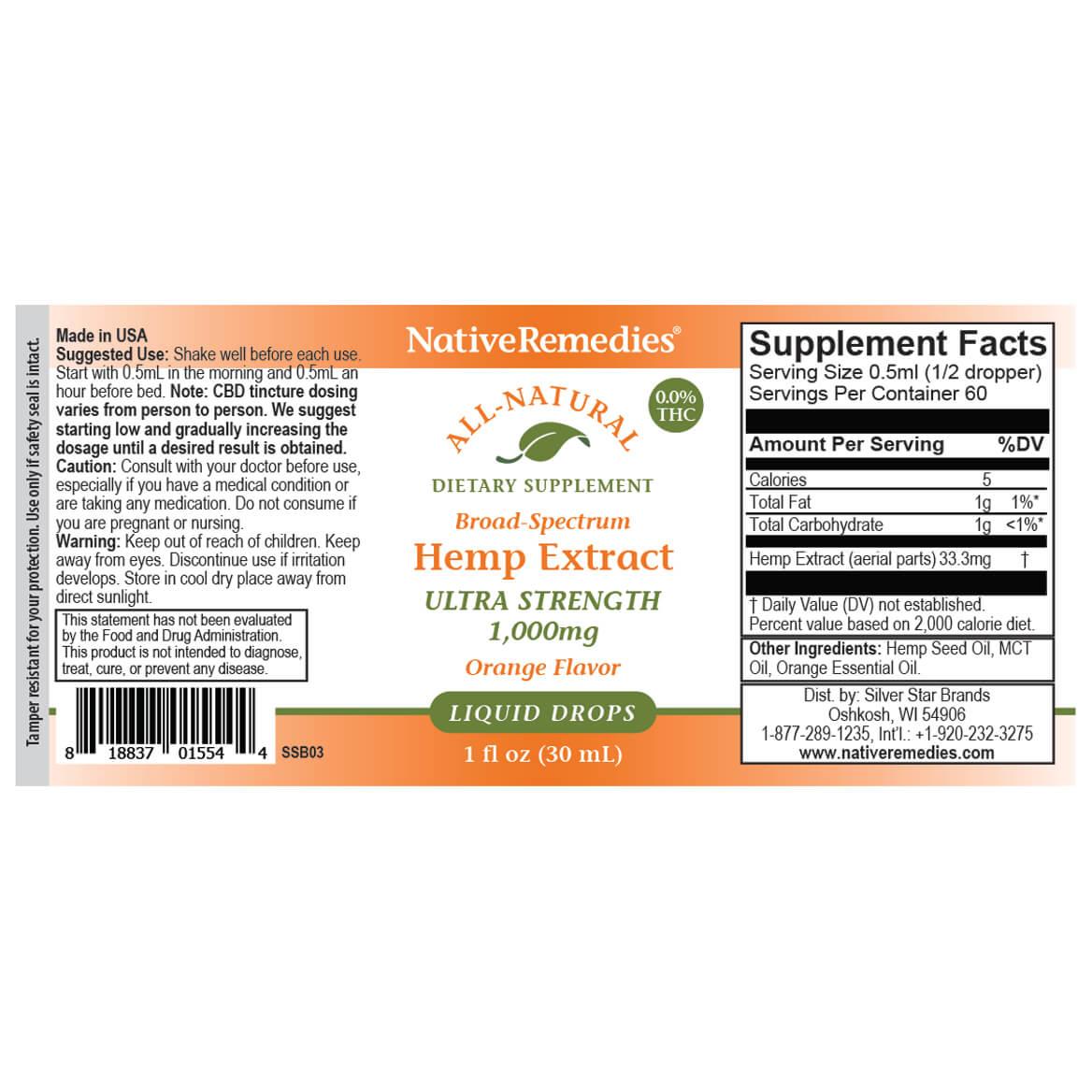 Ultra-Strength Hemp Extract 1,000 mg-369291